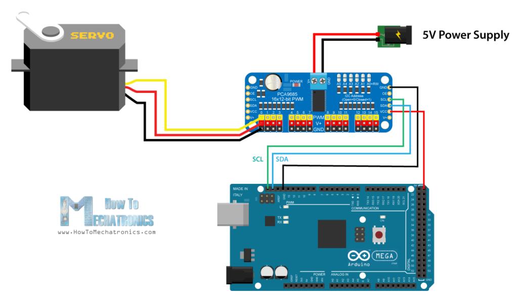 Sơ đồ mạch Arduino và PCA9685