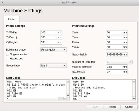 thiết lập thông số máy in 3d